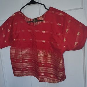 Tops - Red and gold 100% Thai Silk Rossukon